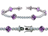 Original Star K™ High End Tennis Bracelet With 6pcs 7mm Cushion Cut Genuine Amethyst