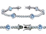 Original Star K High End Tennis Bracelet With 6pcs 7mm Cushion Cut Simulated Aquamarine