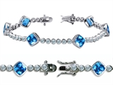 Original Star K High End Tennis Bracelet With 6pcs 7mm Simulated Cushion Cut Blue Topaz