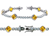 Original Star K™ High End Tennis Bracelet With 6pcs 7mm Cushion Cut Genuine Citrine