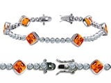 Original Star K High End Tennis Bracelet With 6pcs 7mm Cushion Cut Simulated Mexican Fire Opal