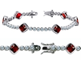 Original Star K™ High End Tennis Bracelet With 6pcs 7mm Cushion Cut Genuine Garnet