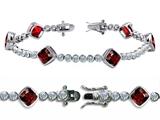 Original Star K™ High End Tennis Bracelet With 6pcs 7mm Cushion Cut Genuine Garnet style: 304734