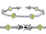Original Star K™ High End Tennis Bracelet With 6pcs 7mm Cushion Cut Genuine Peridot style: 304737