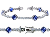 Original Star K™ High End Tennis Bracelet With 6pcs 7mm Cushion Cut Created Sapphire