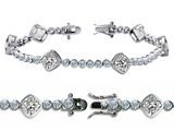 Original Star K™ High End Tennis Bracelet With 6pcs 7mm Cushion Cut Genuine White Topaz