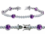 Original Star K™ High End Tennis Bracelet With 6pcs Round 6mm Genuine Amethyst