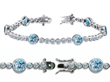 Original Star K High End Tennis Bracelet With 6pcs Round 6mm Simulated Aquamarine