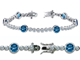 Original Star K High End Tennis Bracelet With 6pcs 6mm Round Simulated Blue Topaz