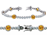 Original Star K™ High End Tennis Bracelet With 6pcs Round 6mm Genuine Citrine style: 304746