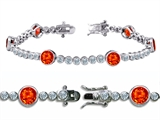 Original Star K™ High End Tennis Bracelet With 6pcs 6mm Round Simulated Mexican Fire Opal