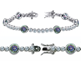 Original Star K™ High End Tennis Bracelet With 6pcs 6mm Round Mystic Topaz style: 304750