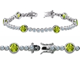 Original Star K High End Tennis Bracelet With 6pcs Round 6mm Genuine Peridot