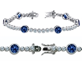 Original Star K High End Tennis Bracelet With 6pcs 6mm Round Lab Created Sapphire