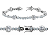 Original Star K High End Tennis Bracelet With 6pcs 6mm Genuine Round White Topaz