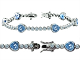 Original Star K™ High End Tennis Bracelet With 6pcs 7mm Heart Shape Simulated Aquamarine