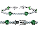 Original Star K™ High End Tennis Bracelet With 6pcs 7mm Heart Shape Simulated Emerald style: 304762