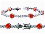 Original Star K High End Tennis Bracelet With 6pcs 7mm Heart Shape Simulated Mexican Fire Opal