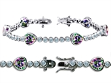 Original Star K™ High End Tennis Bracelet With 6pcs 7mm Heart Shape Rainbow Mystic Topaz