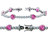Original Star K™ High End Tennis Bracelet With 6pcs 7mm Heart Shape Created Pink Sapphire