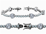 Original Star K™ High End Tennis Bracelet With 6pcs 7mm Heart Shape Genuine White Topaz