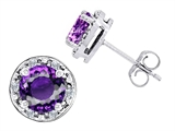 Original Star K™ Genuine 7mm Round Amethyst and Diamond earring Studs
