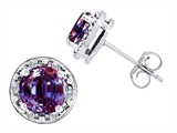 Original Star K™ Created 7mm Round Simulated Alexandrite And Genuine Diamond Earrings Studs style: 304773