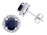Original Star K Genuine 7mm Round Black Sapphire and Diamond earring Studs