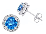 Original Star K Genuine 7mm Round Blue Topaz and Diamond earring Studs
