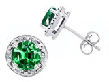 Original Star K Simulated 7mm Round Emerald and Genuine Diamond earring Studs