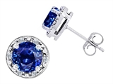 Original Star K Created 7mm Round Sapphire and Genuine Diamond earring Studs