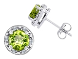 Original Star K Genuine 7mm Round Peridot and Diamond earring Studs