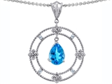 Tommaso Design Circle of Life Pendant with Genuine Pear Shape Blue Topaz and Diamonds