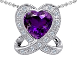 Tommaso Design™ Love Knot Pendant With Genuine Heart Amethyst 8mm And15 Genuine Diamonds