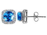 Original Star K Genuine 7mm Cushion Cut Blue Topaz and Diamond earring Studs