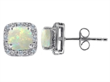 Original Star K Genuine 7mm Cushion Cut Opal and Diamond earring Studs