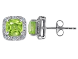 Original Star K™ Genuine 7mm Cushion Cut Peridot and Diamond earring Studs