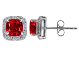 Original Star K Created 7mm Cushion Cut Ruby and Genuine Diamond earring Studs