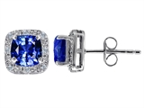 Original Star K™ Created 7mm Cushion Cut Sapphire and Genuine Diamond earring Studs