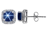 Original Star K™ Created 7mm Cushion Cut Star Sapphire and Genuine Diamond earring Studs