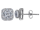 Original Star K™ Genuine 7mm Cushion Cut White Topaz and Diamond earring Studs