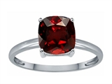 Tommaso Design Genuine Garnet 7mm Cushion Cut Solitaire Engagement Ring