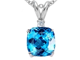 Tommaso Design 7mm Cushion Cut Genuine Blue Topaz Pendant