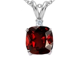 Tommaso Design™ 7mm Cushion Cut Genuine Garnet Pendant