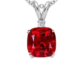 Tommaso Design 7mm Cushion Cut Created Ruby Pendant