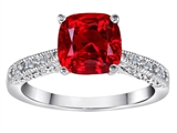 Original Star K Solitaire Engagement Ring with Cushion Cut Created Ruby and 6 Genuine Diamonds