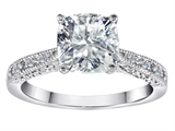 Original Star K Solitaire Engagement Ring with Cushion Cut Genuine White Topaz and 6 Genuine Diamonds