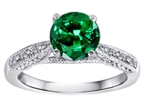 Original Star K™ Solitaire Engagement Ring with Round Simulated Emerald and 6 Genuine Diamonds