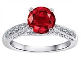 Original Star K™ Solitaire Engagement Ring with Round Created Ruby and 6 Genuine Diamonds