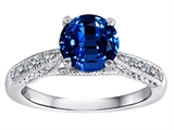 Original Star K Solitaire Engagement Ring with Round Created Sapphire and 6 Genuine Diamonds